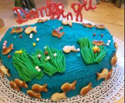 Totentantes saftiger und stabiler Schokoladenkuchen verziert mit gefärbter Ganache - Motivtorte
