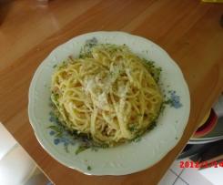 Variation von Spaghetti alla carbonara