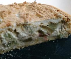 Rhabarberkuchen mit Griespudding