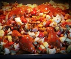 BBQ Hähnchenschenkel  mit Kartoffeln und Gemüse