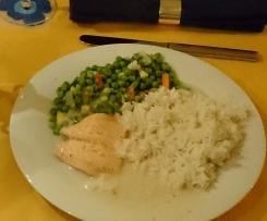 Lachsfilet mit Zitronensauce und Asia-Gemüse