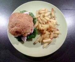 Hähnchenburger mit Mozzarella und würziger Zwiebelade