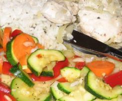Hühnchenbrustfilet mit Gemüse und Reis (All-in-one)