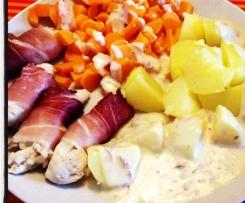 Rauchiges Hähnchenfilet mit Kartoffeln, Gemüse und Soße :) All in one