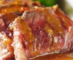 Flanken Steaks mit Erdnusssauce