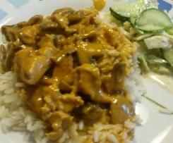Soße für Geschnetzeltes mit Reis