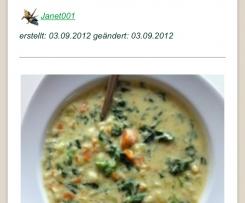 Variation schnelle, kalorienarme Variante d. Spinat-Kartoffel-Suppe (vegan)