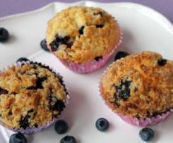 Blaubeermuffins mit Hafer-Crumble Topping (vegan)