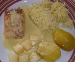 Lachs in Apfel-Ananas-Curry-Soße (all in one)