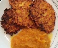 herbstliche Kartoffelpuffer mit Kürbis dazu Apfel-Kürbismus, Kürbispuffer