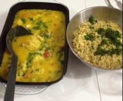 Variation von Blumenkohl-Kokos-Curry mit Bulgur (aus Buch: Wertvoll genießen)