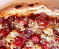 Leckerster Pizzateig für den Pizzastein (Grill oder Backofen)