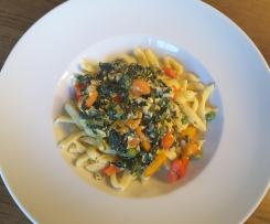 Spätzle mit Räuchertofu, vegetarisch