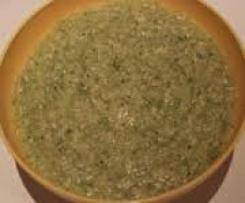 Spargel-Brokkoli-Brei mit Kartoffeln und Pute