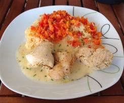 Hähnchen mit Paprika-Möhren-Reis &Sauce