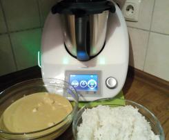 Hähnchen mit Erdnussosse und Reis