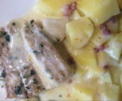 Kabeljau mit Kartoffeln und heller Soße
