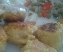 Falafel mit veganem Joghurtdip und Reissalat