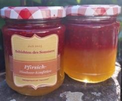 Pfirsich-Himbeer-Schichtkonfitüre