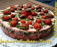 Erdbeer-Joghurt-Torte mit Minze - Kühlschranktorte - Torte ohne Backen