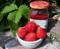 Erdbeer-/Himbeermarmelade mit Zitronenmelisse