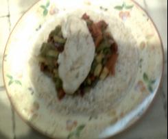 Hähnchensteak, Paprika, Reis