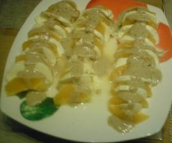 Orange-Mozzarella mit Joghurt Balsamico Dressing --> winterliche Vorspeise