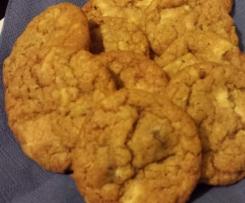 Haferflocken Kekse mit Cranberries und weißer Schokolade