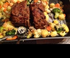 Falscher Hase Siziliana // Hackbraten mit gebratenem Gemüsegefüllt