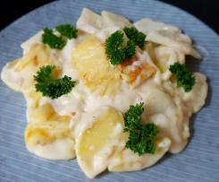 Kartoffel-Kohlrabi-Auflauf mit Frischkäsesauce