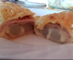 Spargel Crepe mit Schinken und Käse überbacken