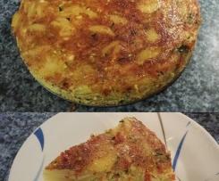 Tortilla de patatas con calabacín pimiento rojo