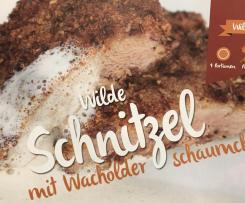 Wilde Schnitzel mit Wacholderschäumchen (Reh, Rehkeule, Wild)