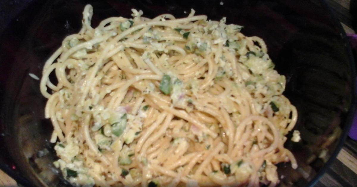 vegetarische spaghetti carbonara mit zucchini von sky1984 ein thermomix rezept aus der. Black Bedroom Furniture Sets. Home Design Ideas