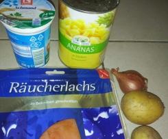 Räucherlachs Ananas Schmand zu Pellkartoffeln