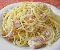 Spaghetti Carbonara mit Schinken