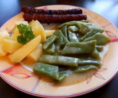 Omas Bohnengemüse mit Kartoffeln und Leberkäse (optional)