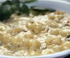 schnelle Gnocci mit Champignon-Möhren-Gorgonzola-Sauce