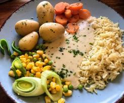 Bunte Gemüseplatte mit heller Sauce & Reis (mit Friend)