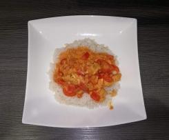 pikantes Hähnchenbrustfilet mit Reis