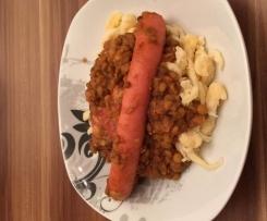 Linsen mit Saitenwürschtle und Bauchspeck nach Manu's Art