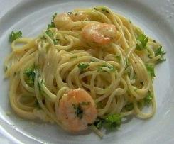Zitronen Spaghetti mit Garnelen