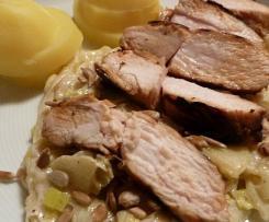 Hähnchenbrustfilet mit Apfel - Porreegemüse