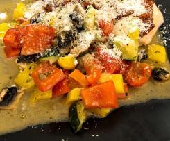 Mediterranes Fischfilets mit Gemüse (Low Carb)