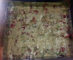 Variation von Rhabarberkuchen mit Puddingcreme