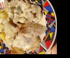 Blumenkohl, Hähnchenfilet mit Kartoffeln und Bechamelsauce