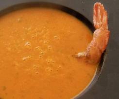 Kürbissuppe - mit Scampi
