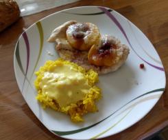 Putenschnitzel Hawai (Pfirsich) mit Reis