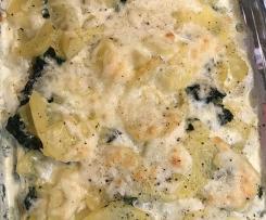 Kartoffelgratin mit Spinat