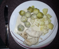 Hähnchen-Innenfilet mit Rosenkohl , Kartoffeln in Käsesoße